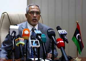 Press conference of Libyan National Salvation government's Prime Minister Omar al-Hasi in Tripoli