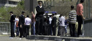 Bomb explosion next to a checkpoint at the May 15 bridge, Zamalek, Cairo, Egypt - 05 Apr 2015