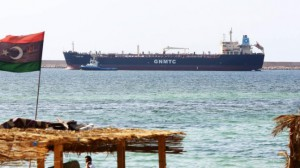 """A picture taken on August 6, 2014 shows the Libyan oil tanker """"Anwar Libya"""", carrying more than 9 million litres of petrol, arriving at the port of Tripoli in an attempt to resolve the fuel crisis in the Libyan capital Tripoli.   AFP PHOTO /MAHMUD TURKIA"""