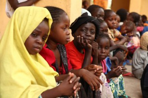 Girls rescued by Nigerian soldiers from Islamist militants Boko Haram at Sambisa Forest sit at the Malkohi refugee camp in Yola on May 5, 2015. They were among a group of 275 people rescued by the Nigerian military last week and arrived at the camp on May 2. The Nigerian military said it has rescued some 700 women and children in the past weeks. AFP PHOTO / EMMANUEL AREWAEMMANUEL AREWA/AFP/Getty Images