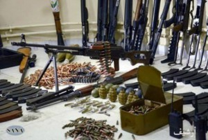 According to SANA, Syria's official News agency, these Turkish weapons, funded by Saudi Arabia and Qatar, are being smuggled to Syria.