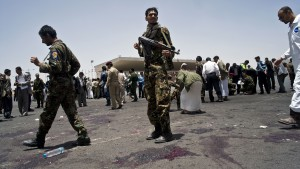 The site of a suicide bomb attack in Sana'a on Monday that claimed the lives of at least 96 soldiers as they performed a parade drill in anticipation of Yemen's National Unity Day.