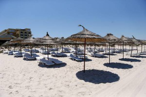 epa04826641 A view of the beach where tourists were shot dead in front of the Hotel Imperial Marhaba in Sousse, Tunisia, 01 July 2015. Tunisian authorities announced a plan to deploy 1000 armed policemen at tourist sites following the deadly attack on the beach that left 38 people killed on 26 June.  EPA/MOHAMED MESSARA