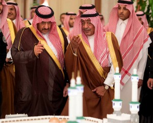 "A picture provided by the Saudi Press Agency (SPA), on July 12, 2015 shows Crown Prince and Intiror Minister Mohammed bin Nayef Al Saud (L) and Prince Muqrin bin Abdulaziz attending the opening ceremonyfor  five projects within the Third Saudi expansion for the Grand Mosque in Makkah, including expansion building, squares, tunnels, services building and the first ring road. The Grand Mosque accommodates more than 1,600,000 worshipers with 78 gates at the ground floor surrounding the expansion building.  AFP PHOTO / HO / SPA = RESTRICTED TO EDITORIAL USE - MANDATORY CREDIT ""AFP PHOTO / HO / SPA"" - NO MARKETING NO ADVERTISING CAMPAIGNS - DISTRIBUTED AS A SERVICE TO CLIENTS =SPA/AFP/Getty Images"