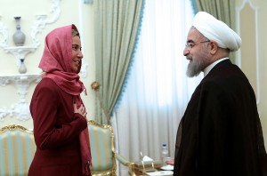 epa04863837 A handout picture made available by the presidential official website shows Iranian President Hassan Rowhani (R) greeting EU foreign policy chief Federica Mogherini (L) at the presidential office in Tehran, Iran, 28 July 2015. EU chief diplomat Federica Mogherini arrived in Iran on 28 July where she is scheduled to meet President Hassan Rowhani and Foreign Minister Mohammad Javad Zarif just two weeks after she helped close the deal that aims to settle a long-standing dispute over Tehran's controversial nuclear program and end its diplomatic isolation.  EPA/PRESIDENTIAL OFFICIAL WEBSITE/HANDOUT  HANDOUT EDITORIAL USE ONLY/NO SALES