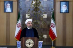 Iran's President Hassan Rouhani delivers a speech to the nation in Tehran, Iran July 14, 2015. REUTERS President.ir/Handout
