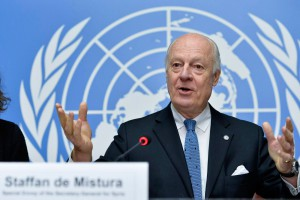 Staffan de Mistura, United Nations, Special Envoy for Syria at a press conference. 15 January 2015. UN Photo / Jean-Marc Ferré