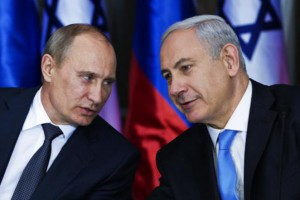 Russian President Vladimir Putin (L) listens to his host Israeli Prime Minister Benjamin Netanyahu as they prepare to deliver joint statements after their meeting and a lunch in the Israeli leader's  residence in Jerusalem on June 25, 2012. Netanyahu said he and the Russian leader see the Iranian issue in a similar way after discussing it at length.  UPI/Jim Hollander/Pool