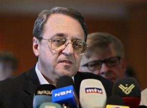 Mikhail Bogdanov, Russian deputy foreign minister and special envoy to the Middle East, speaks during a press conference upon his arrival at Rafik Hariri International Airport in Beirut, Lebanon, Thursday, April 25, 2013. Bogdanov is in Beirut for several days visit to meet with Lebanese officials(AP Photo/Bilal Hussein)