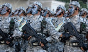A picture taken on June 24, 2008 shows Azeri soldiers participating in the dress rehearsal of a military parade in Baku. Baku, the capital city of Azerbaijan, will host the nation's first full-scale military parade in 20 years on June 26, 2008.    AFP PHOTO / OSMAN KARIMOV (Photo credit should read OSMAN KARIMOV/AFP/Getty Images)