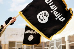 Nov. 19, 2015 - Raqqa, Syria - Islamic State of Iraq and the Levant propaganda photo showing the Black Muhammad Standard banner symbol of ISIS. (Credit Image: © Dabiq/Planet Pix via ZUMA Wire)