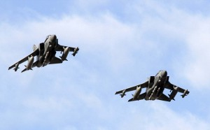 RAF Tornados return to RAF Akrotiri, Cyprus, after bombing Syrian oilfields during the night. Two of the Tornados in the air, on their return this morning.