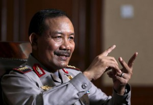 Indonesia's national police chief Badrodin Haiti speaks with Reuters during an interview at police headquarters in Jakarta January 18, 2016.  REUTERS/Darren Whiteside