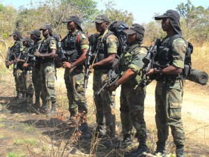 Cameroonian soldiers patrol on Dec. 15 during a field trip organized for the press at Bouba N'Djidda National Park in northern Cameroon.
