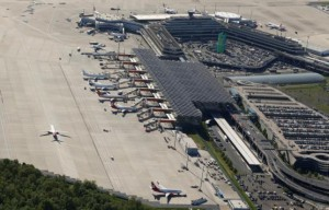 An aerial picture shows the Konrad Adenauer airport of Cologne-Bonn near the North Rhine-Westphalian city of Cologne, Germany May 6, 2015. REUTERS/Wolfgang Rattay