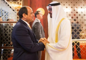 """A handout image made available by the United Arab Emirates News Agency (WAM) on October 27, 2015, shows Sheikh Mohamed bin Zayed Al Nahyan Crown Prince of Abu Dhabi and Deputy Supreme Commander of the UAE Armed Forces (R) receiving Egyptian President Abdel Fattah al-Sisi in the Emirati capital as they meet to discuss bilateral ties and regional and international issues of mutual interest. AFP PHOTO / WAM / HO / RYAN CARTER == RESTRICTED TO EDITORIAL USE - MANDATORY CREDIT """"AFP PHOTO / HO / WAM / RYAN CARTER"""" == NO MARKETING NO ADVERTISING CAMPAIGNS - DISTRIBUTED AS A SERVICE TO CLIENTS === / AFP PHOTO / WAM / Ryan Carter"""